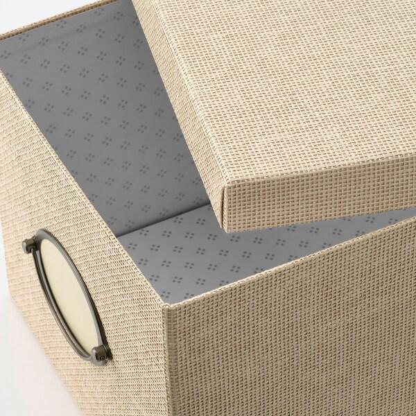 KVARNVIK Storage box with lid, beige, 25x35x20 cm