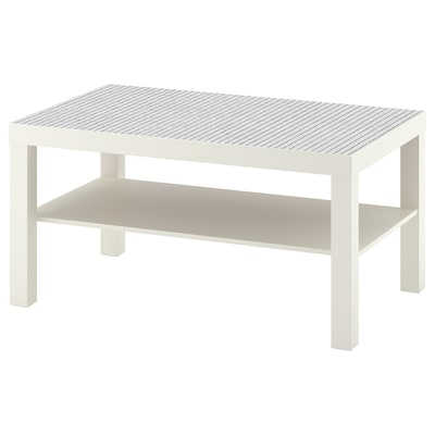 LACK coffee table white/check pattern 90 cm 55 cm