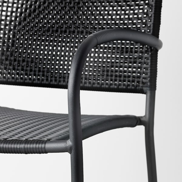 LÄCKÖ chair with armrests, outdoor grey 110 kg 56 cm 60 cm 82 cm 42 cm 42 cm 42 cm