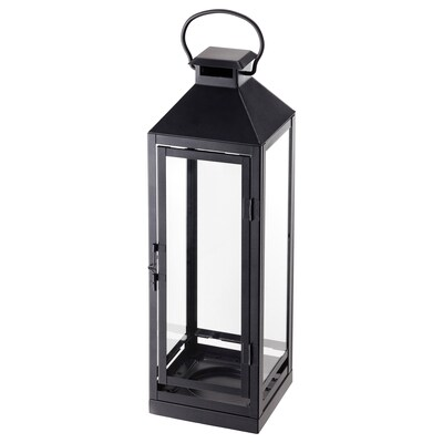 LAGRAD lantern f block candle, in/outdoor black 13 cm 43 cm