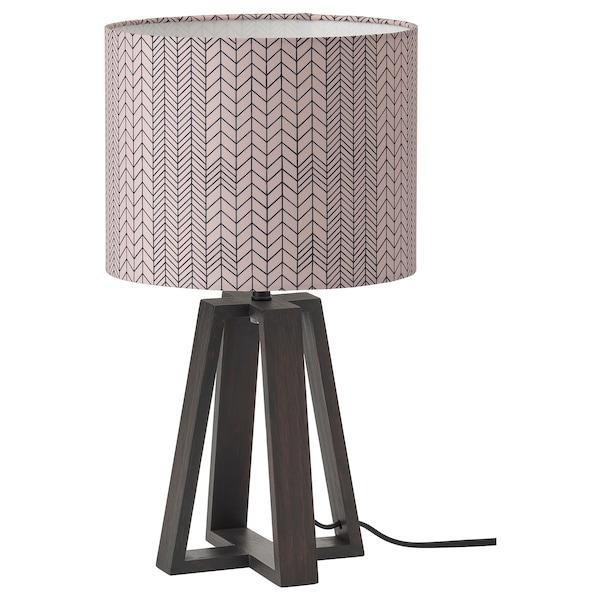 LAKAFORS Table lamp, dark brown/wood/dark pink black, 40 cm