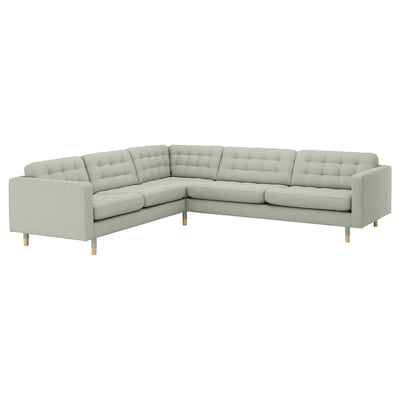 LANDSKRONA corner sofa, 5-seat Gunnared light green/wood 89 cm 78 cm 281 cm 241 cm 61 cm 44 cm