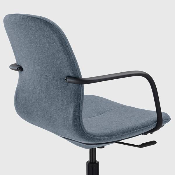 LÅNGFJÄLL Office chair with armrests, Gunnared blue/black