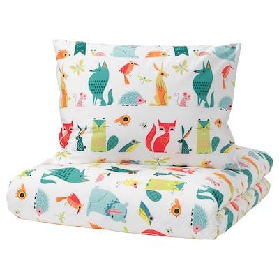 LATTJO Quilt cover and pillowcase, animal/multicolour, 140x200/60x70 cm