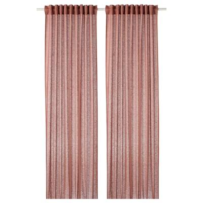 LEJONGAP curtains, 1 pair light brown-pink 300 cm 145 cm 1.40 kg 4.35 m² 2 pack