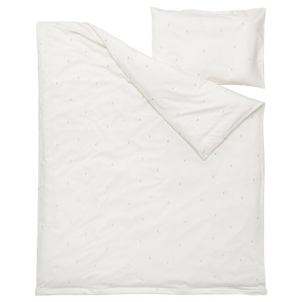 LENAST Quilt cover/pillowcase for cot, white, 110x125/35x55 cm