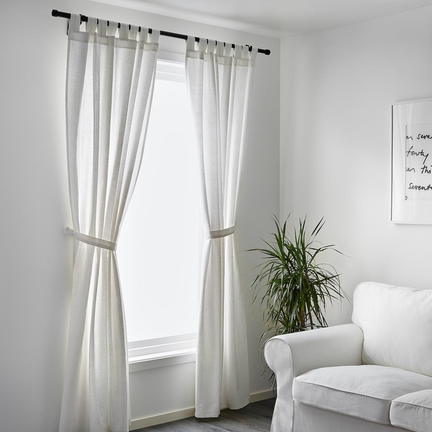 LENDA Curtains with tie-backs, 14 pair - white 1440x14 cm