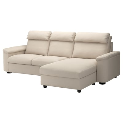 LIDHULT 3-seat sofa-bed with chaise longue/Gassebol light beige 102 cm 76 cm 164 cm 298 cm 98 cm 120 cm 7 cm 231 cm 53 cm 45 cm 140 cm 200 cm