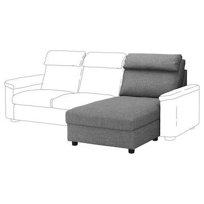 LIDHULT Chaise longue section, Lejde grey/black