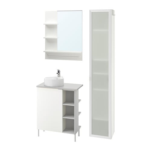 Lillångenviskan Gutviken Bathroom Furniture Set Of 9 White Grey Olskär Tap