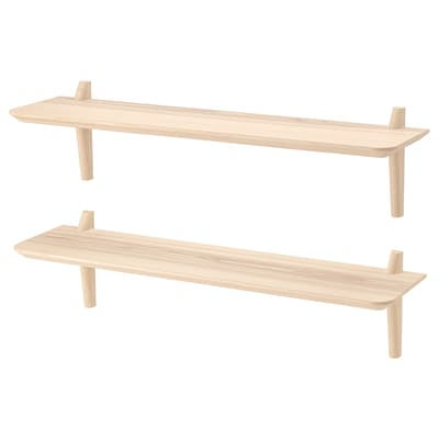 LISABO Wall shelf combination, ash veneer, 118x30x30 cm