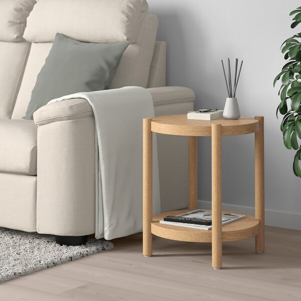 LISTERBY Side table, white stained oak, 50 cm