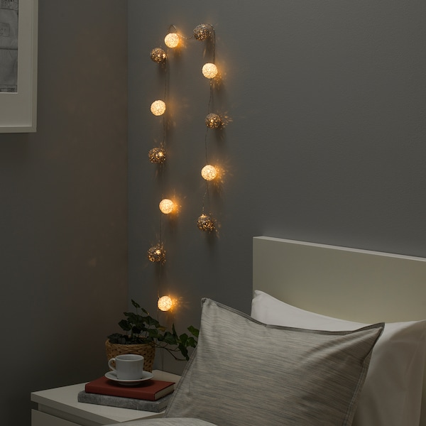 LIVSÅR LED lighting chain with 12 lights, indoor/battery-operated grey/white