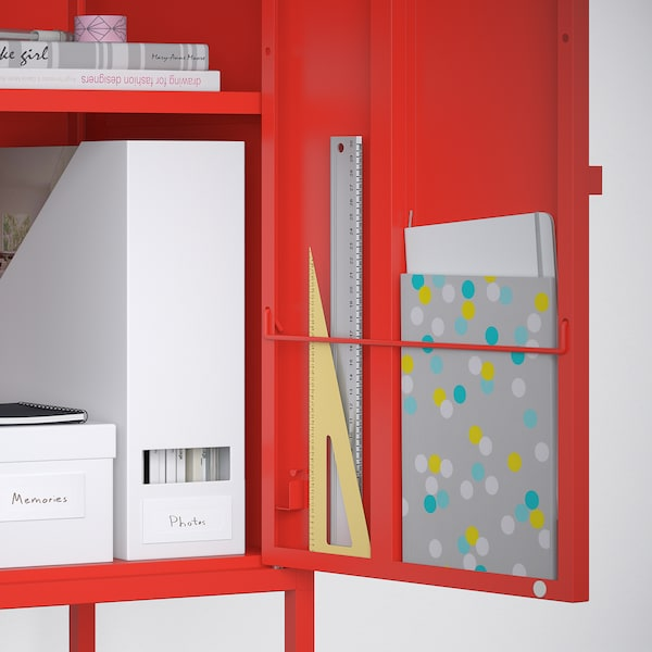 LIXHULT Storage combination, red, 140x35x82 cm