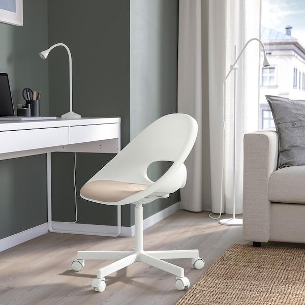 LOBERGET / BLYSKÄR Swivel chair with pad, white/beige