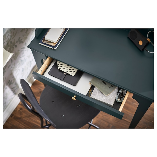 LOMMARP Desk, dark blue-green, 90x54 cm