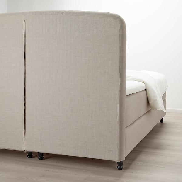 LOMMEDALEN Divan bed, Hyllestad medium firm/Tustna SKIFTEBO light beige, 180x200 cm