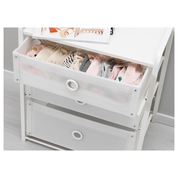 LOTE chest of 3 drawers white 55 cm 36 cm 62 cm