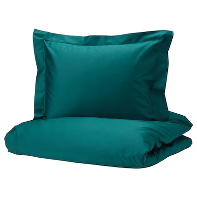 LUKTJASMIN Quilt cover and 2 pillowcases, dark green, 200x200/60x70 cm