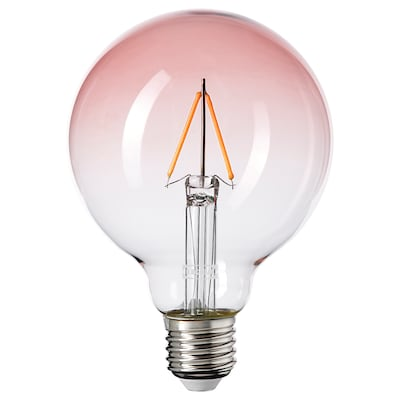 LUNNOM LED bulb E27 80 lumen, globe pink clear glass