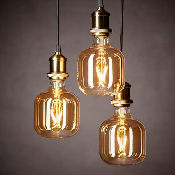 LUNNOM LED bulb E27 80 lumen, tube-shaped brown clear glass