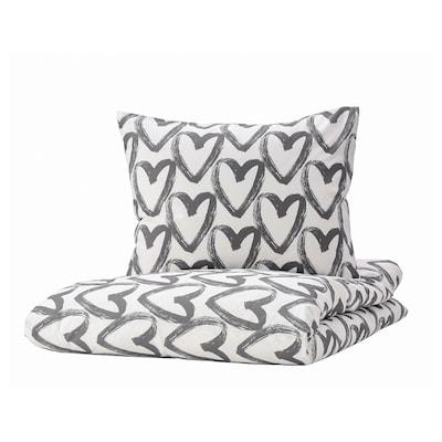 LYKTFIBBLA Duvet cover and pillowcase, white/grey, 140x200/60x70 cm