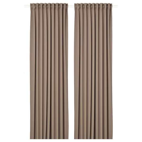 MAJGULL Room darkening curtains, 14 pair, grey/brown, 1445x14 cm - IKEA