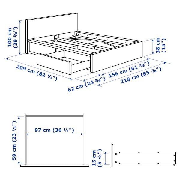 MALM Bed frame, high, w 2 storage boxes, brown stained ash veneer/Lönset, 140x200 cm