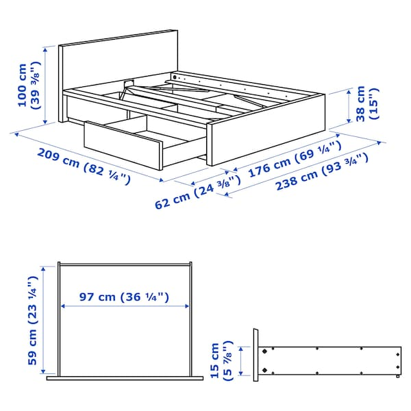 MALM Bed frame, high, w 2 storage boxes, grey stained/Lönset, 160x200 cm