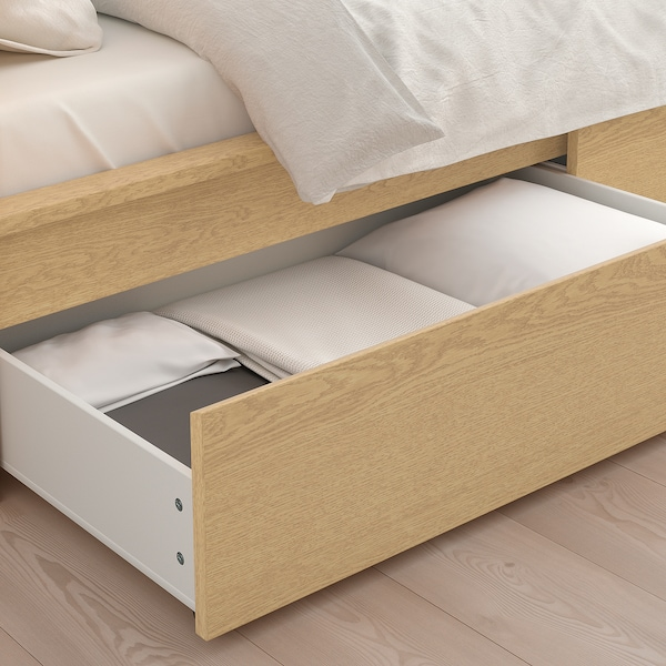 MALM Bed frame, high, w 2 storage boxes, white stained oak veneer/Leirsund, 90x200 cm