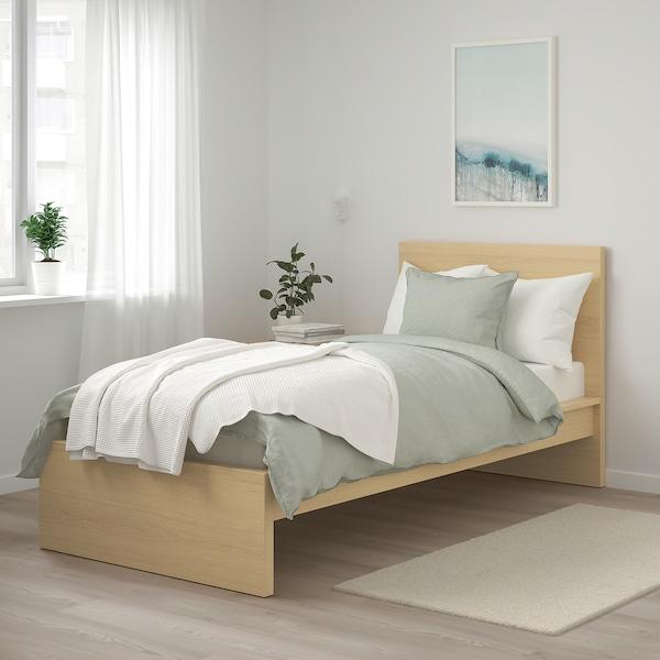 MALM Bed frame, high, white stained oak veneer, 90x200 cm