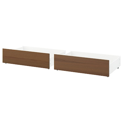 MALM Bed storage box for high bed frame, brown stained ash veneer, 200 cm