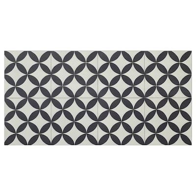 MARKYTA floor/wall tile circle pattern black/white 63 cm 32.0 cm 3 mm 9 kg 1.97 m² 10 pack