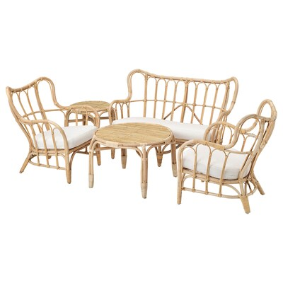 MASTHOLMEN 4-seat conversation set, outdoor, rattan