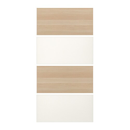 Mehamn 4 Panels For Sliding Door Frame White Stained Oak Effect White