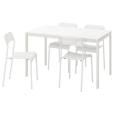 MELLTORP / ADDE Table and 4 chairs, white, 125 cm