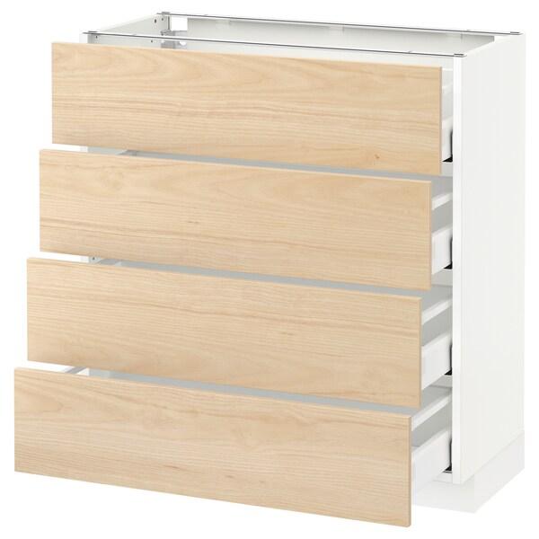 METOD Base cab 4 frnts/4 drawers, white/Askersund light ash effect, 80x37 cm