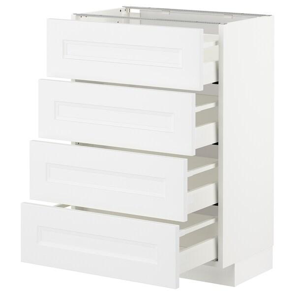METOD Base cab 4 frnts/4 drawers, white/Axstad matt white, 60x37 cm