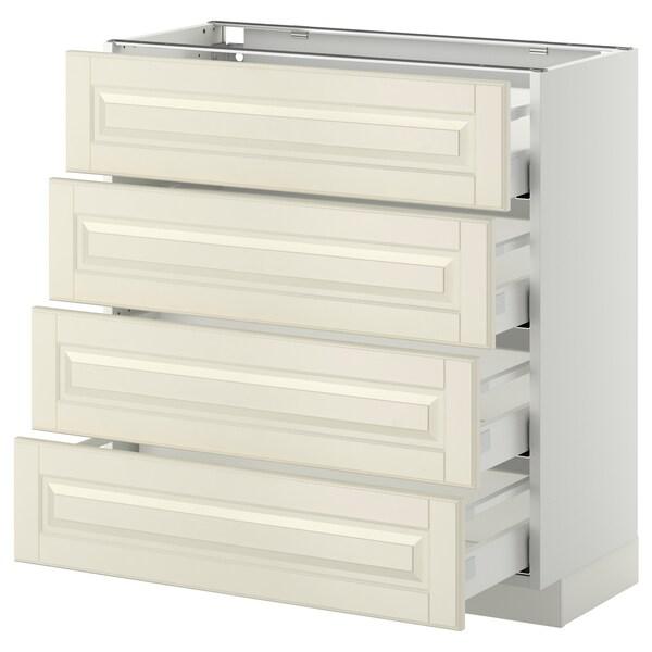 METOD Base cab 4 frnts/4 drawers, white/Bodbyn off-white, 80x37 cm