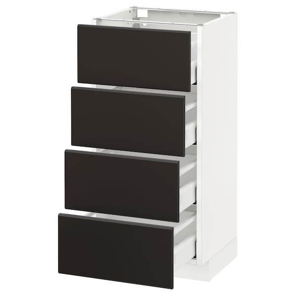 METOD Base cab 4 frnts/4 drawers, white/Kungsbacka anthracite, 40x37 cm