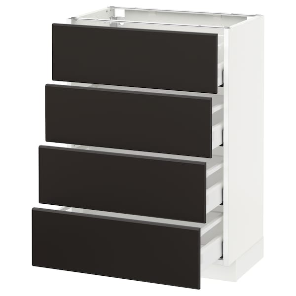 METOD Base cab 4 frnts/4 drawers, white/Kungsbacka anthracite, 60x37 cm