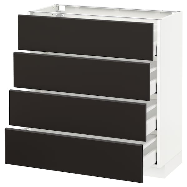 METOD Base cab 4 frnts/4 drawers, white/Kungsbacka anthracite, 80x37 cm