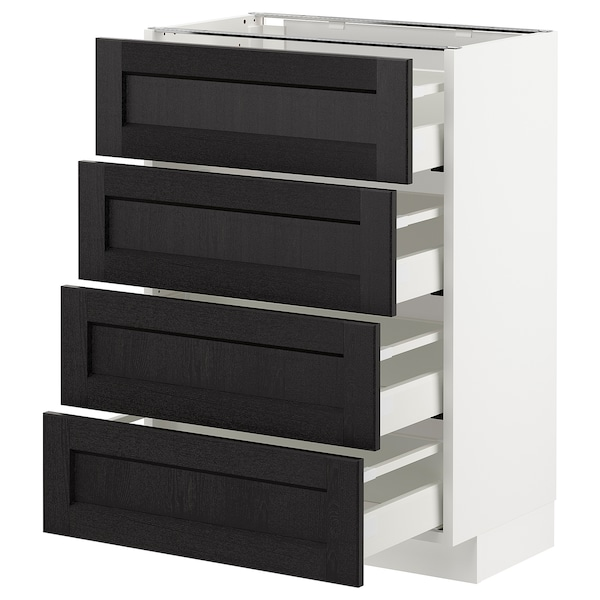 METOD Base cab 4 frnts/4 drawers, white/Lerhyttan black stained, 60x37 cm