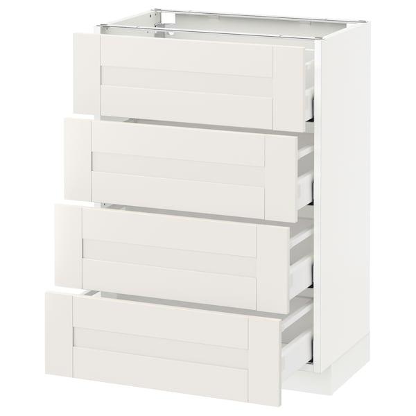 METOD Base cab 4 frnts/4 drawers, white/Sävedal white, 60x37 cm