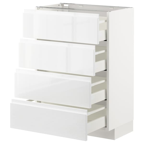 METOD Base cab 4 frnts/4 drawers, white/Voxtorp high-gloss/white, 60x37 cm