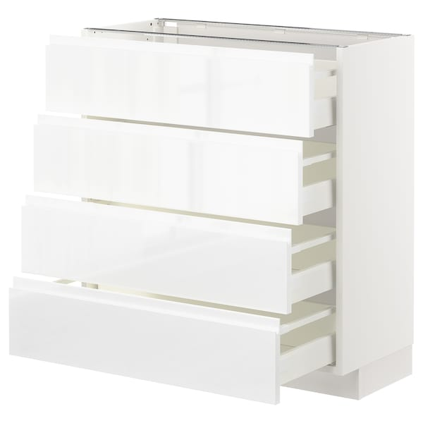METOD Base cab 4 frnts/4 drawers, white/Voxtorp high-gloss/white, 80x37 cm