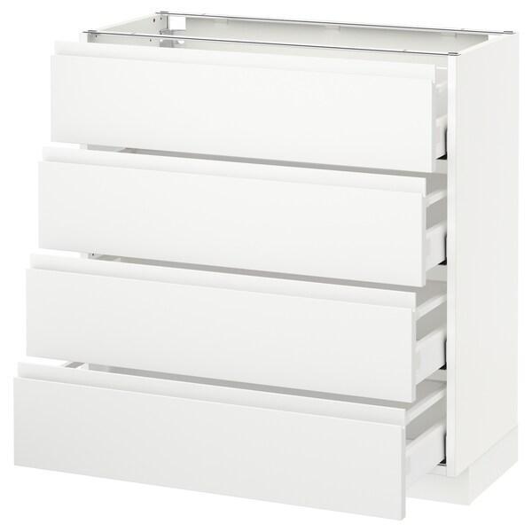 METOD Base cab 4 frnts/4 drawers, white/Voxtorp matt white, 80x37 cm