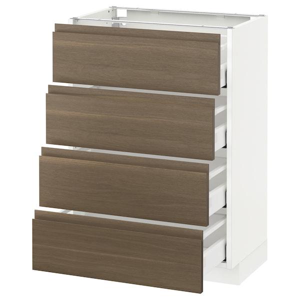 METOD Base cab 4 frnts/4 drawers, white/Voxtorp walnut, 60x37 cm