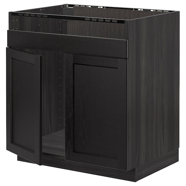 METOD base cab f HAVSEN double bowl sink black/Lerhyttan black stained 80.0 cm 61.9 cm 88.0 cm 60.0 cm 80.0 cm