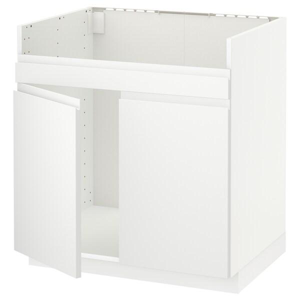 METOD Base cab f HAVSEN double bowl sink, white/Voxtorp matt white, 80x60 cm